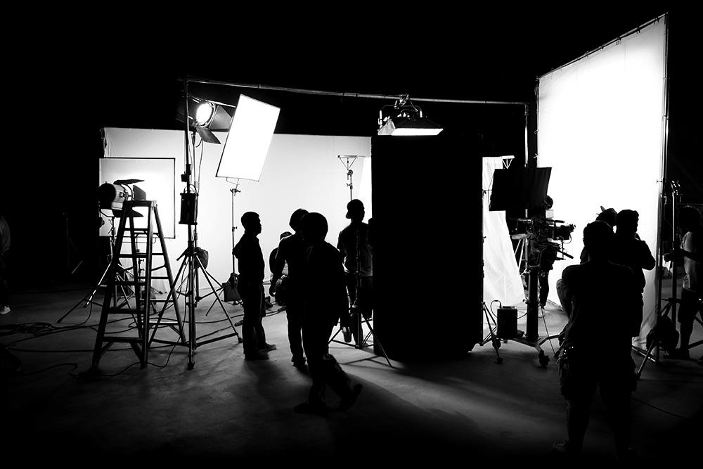 Filmset mit Crew